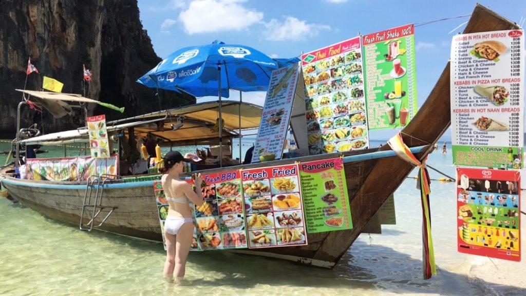 railay beach krabi food boats