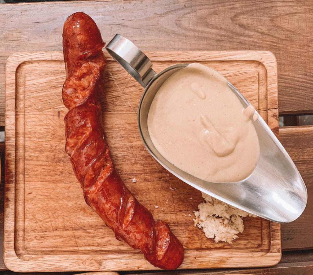 klobasy grilled sausage prague food czech food