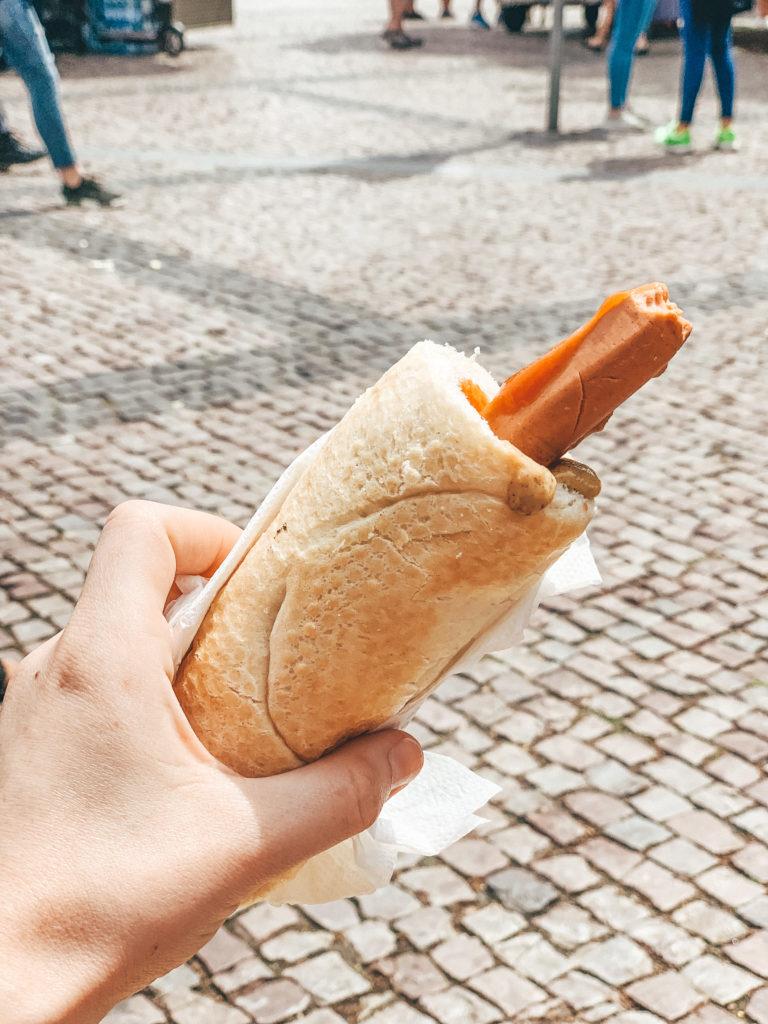 prague food. veggie dog sausage in prague
